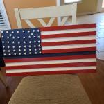 Handmade wood American flag with thin blue line