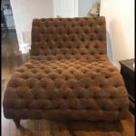 New Oversized Tufted Chaise Lounge Dark Brown Furniture (no pillows)