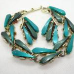 MId Century Thermo Plastic Teal Green Bracelet & Matching Clip Earrings