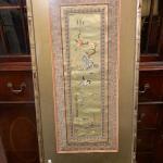 """Lot 11-framed Japanese silk tapestry 29"""" x 11"""""""