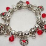 Silver & Red Stretch Valentine Charm Heart Bracelet