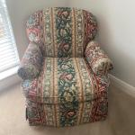 "Upholstered ""Hickory"" Floral Chair"