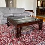 Wood / 3 Panel Glass Square Coffee Table