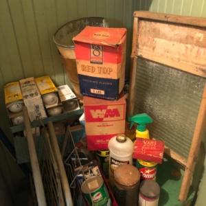 Photo of Lot 166K. Assortment of cleaning products, light bulbs, two hand carts and washb
