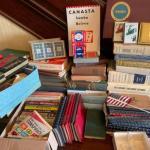 Lot 155H. Books, cards, Scrabble Game, vintage electric presser, poker chips, jo