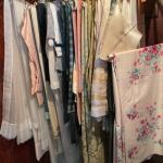 Lot 160H. Vintage linens and upholstery fabrics, kitchen tablecloths--$95