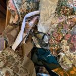 Lot 159H. Large collection of upholstery remnants and fabrics--$95
