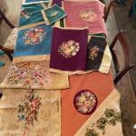 Lot 153DR. Twelve vintage needlepoint completed works for foot stools, pillows,