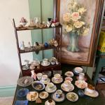 Lot 150DR. Cups and saucers, ash trays glass bowl, miniature figurines, oil pain