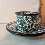 1403 = Small Enameled Tin Camo Cup and Sauser
