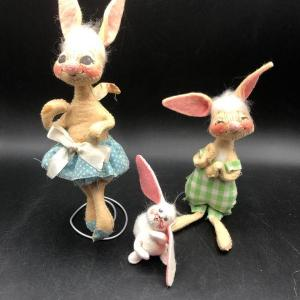 """Photo of Annalee trio of Easter Springtime Bunny Rabbits 2"""" to 5"""" high"""