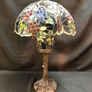 Photo of Large Stained Glass Lamp Grape Pattern Shade and Base