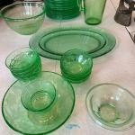 Large Set of Antique Green Depression Glass