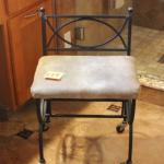 Lot 179 Iron Vanity Stool on Wheels