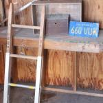 Lot 171 Rustic Boxes, CA Plate, Mini Ladder & More - Shed