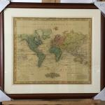 "HENRY S. TANNER ""World on Mercator"" Framed Original Lithograph. LOT A40"