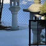 Matching pair of concrete lantern pagodas