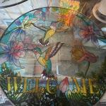 Stained glass light catcher with Humming birds