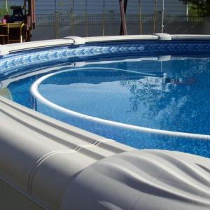 Photo of top of the line, aluminum wall, above ground swimming pool