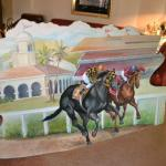LOT 394 LARGE HORSE RACING ART OIL ON  WOOD