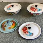 313 Two Small Vintage Enamelware  Bowls with Lids