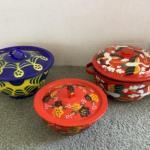 314 Three Vintage Enamelware Pots with Lids