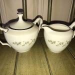 Lenox Brookdale China Creamer and Sugar with Lid - Item # 197