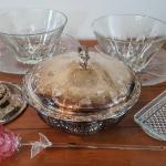 Lot 18 DR: Silver Plater and glass bowls