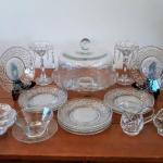 Lot 16 DR: Decorative Glass Cake Stand, Crystal Hanging Candle Holders and More
