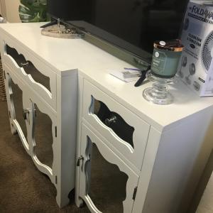 Photo of $230  White Mirrored 3 piece TV Console Media Stand 2 Accent Chairs