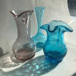 Set of three crackle glass