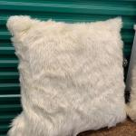 Super Soft, White Fur Pillows 24x24in (set of 2)