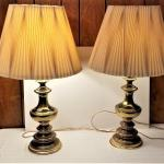Lot #103  Pair of 1980's Brass Lamps - working condition