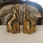 Solid brass bunny rabbit bookends
