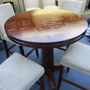 Photo of Wood Round Table (Tall) with Suede Chairs