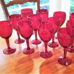 Lot #107  Late Addition - lot of 12 Red Glass Goblets