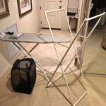 Lot 127. Ironing board and cover, laundry bag, iron, clothing rack--WAS $25–NO