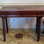 Mahogany Game Table with Spool Legs