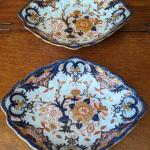 Pair of 2 antique Royal Crown Derby lozenge shape serving plates Kings pattern 1