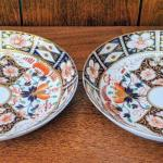 Antique Pair Royal Crown Derby Imari coupe style bowls or underplates 1806-1825