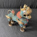 LOT#25MB1: Brass Nepalese Foo Lion with Semi-Precious Stones