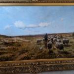 Oil Painting by Cornelis Westerbeek 1897 Shepherd with flock of sheep
