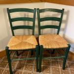 Pair of Green Rush Bottom Chairs.
