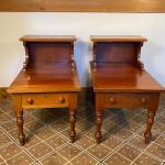 Quality Pair of Cherry Step Back End Tables/Drawer