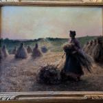 Oil Painting by Georges Laugée Woman Gleaning Wheat