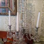 Pair of crystal candle lit girandoles. 3 branch.
