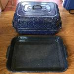 (2) Larger Enamelware Roasting Pans - One With A Lid