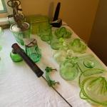 J1033 Vintage Green Depression glass kitchen wares