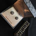 Markasite Earrings and Safety Pin Bracelet Lot