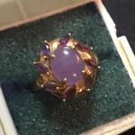 Antique 14k Gold Ring with Purple Jade and Amethysts. Size 8